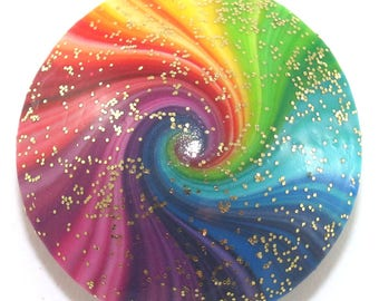 Big ethereal cosmic swirl pendant craft bead, handmade unique rainbow spiral polymer clay bead for jewelry making, jewelry supplies