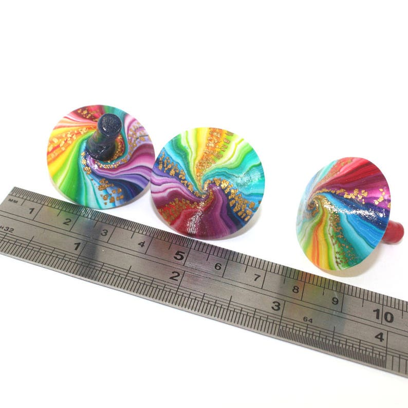 set of 3 polymer clay rainbow dreidels christmas stocking stuffer christmas gift colorful dreidels Hanukkah gift Unique spinning tops