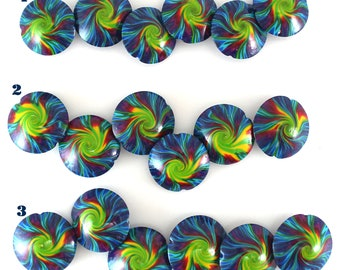Swirl lentil beads, rainbow polymer clay beads charm for DIF jewelry making, 6 colorful focal beads, craft supplies, colorful spiral beads