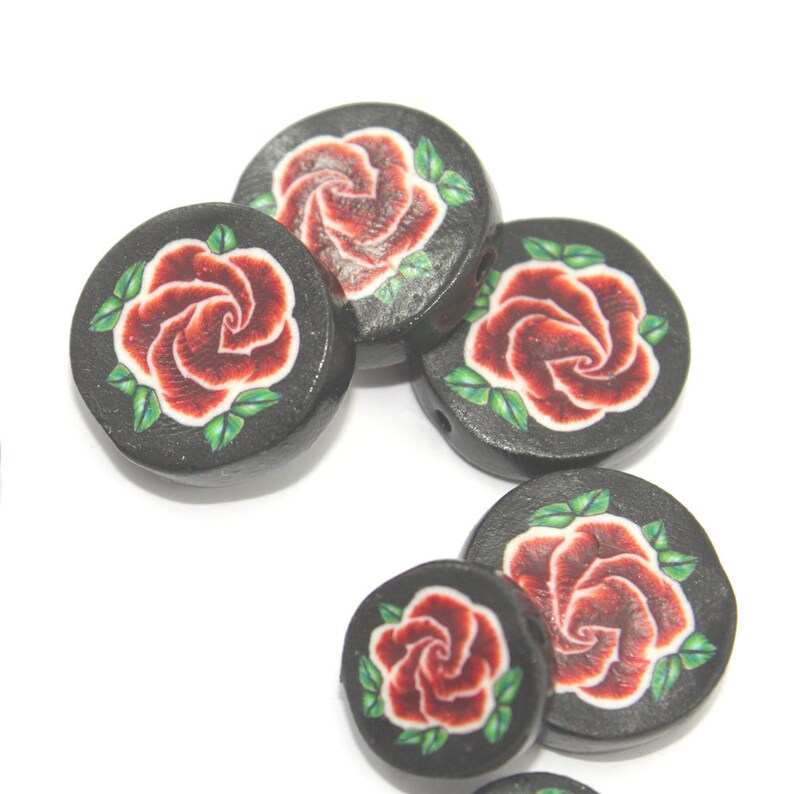 Round beads for jewelry making birthday love necklace Valentines DIY gift for women for girls handmade polymer clay beads rose 8pcs assort.