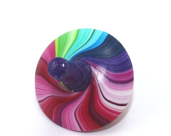 Psychedelic toy, Colorful ombre spinning top, Handmade jewelry polymer clay kids toy, Christmas stocking stuffers