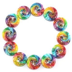 Original jewelry rainbow button for DIY gift craft supplies dress button shirt button crochet knit button colorful polymer clay button 8pcs