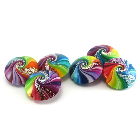 swirl lentil beads with silver Polymer clay beads in rainbow colors 6 colorful focal beads for craft supplies