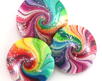 Colorful swirl lentil beads, 3 large polymer clay beads, focal pendant beads, unique pattern elegant beads, rainbow beads for jewelry making