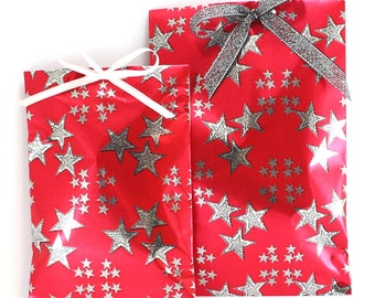 Handmade Christmas paper treat bags, 4th of July stars gift bags, gift paper wrapping, glossy paper gift bags, Christmas gift bags 10 pcs