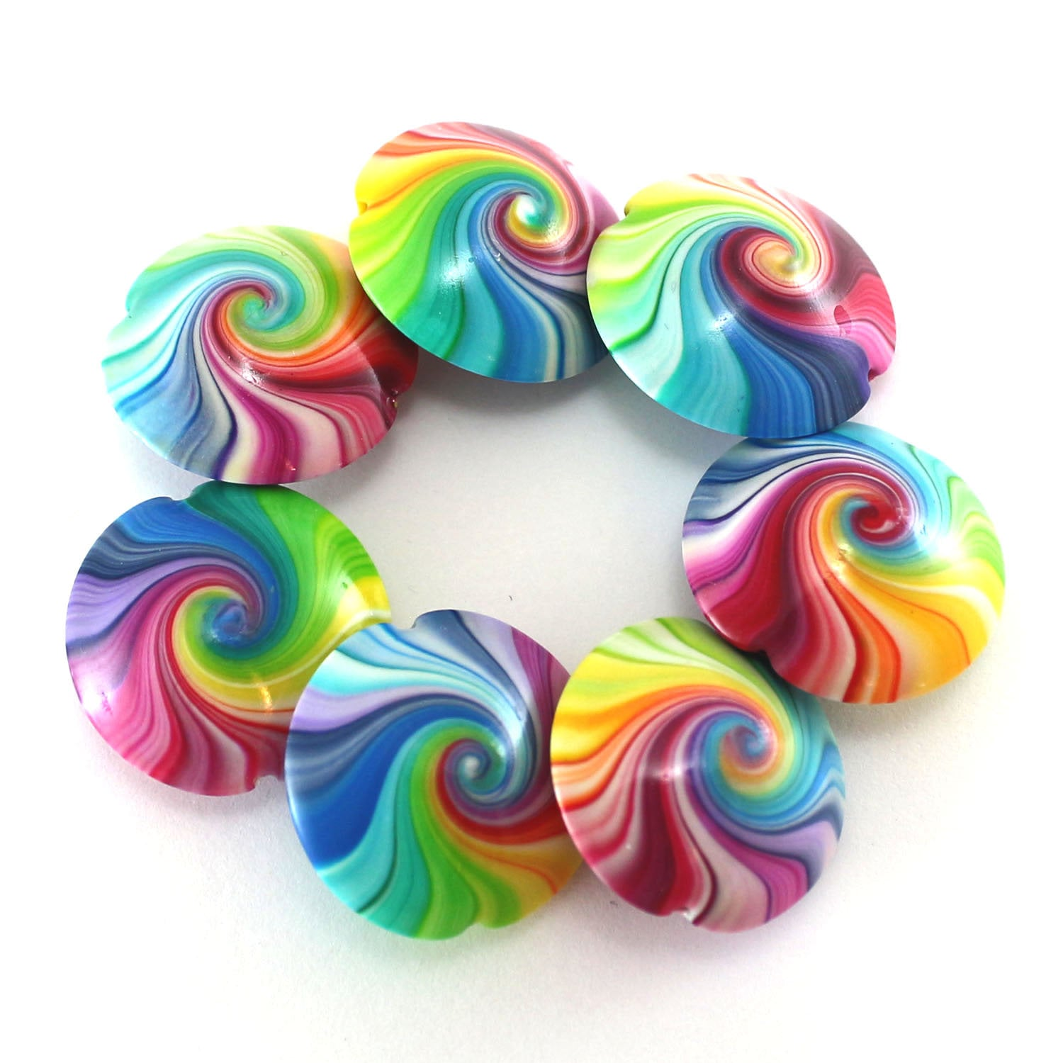 Colorful Swirl Lentil Beads Polymer Clay Beads In Rainbow