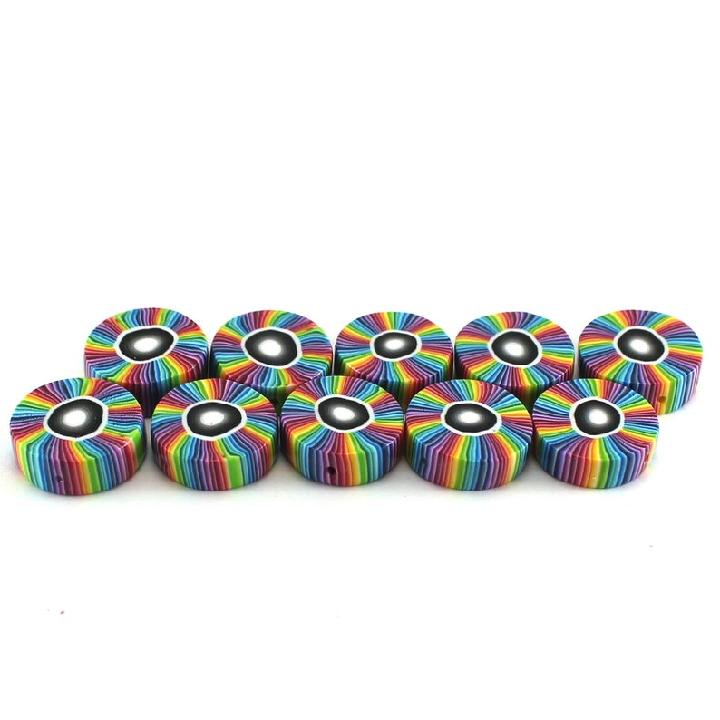 unique set of 10 polymer clay rainbow beads Colorful stripes beads round flat beads for jewelry making craft supplies beads candy beads