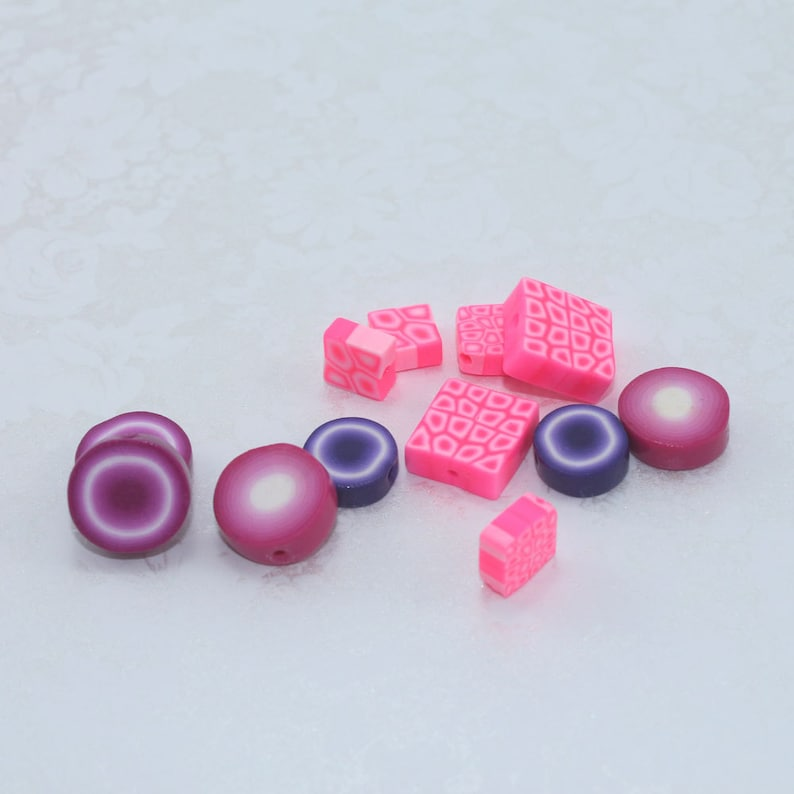 12 unique assorted handmade polymer clay jewelry making beads in rich delicious colorful pink purple violet white square /& round beads
