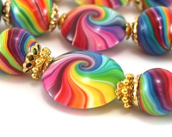 Round strips beads bracelet gift ideas gumball beads for jewelry making, 7 colorful swirl craft beads rainbow polymer clay beads for jewelry