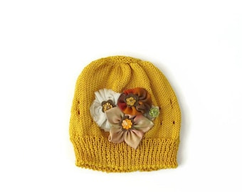 Baby girl knit hat, Baby girl flower hat, Newborn hospital hat, Gift for baby shower, Infant hat with flower, cotton summer girl hat, baby