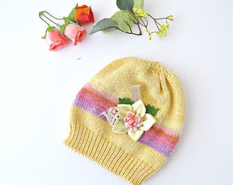 yellowish baby hat with flower, Baby knit hat, Toddler beanie, Children knit hat, Baby knit beanie, Gift for baby, Kids hats, Baby hats