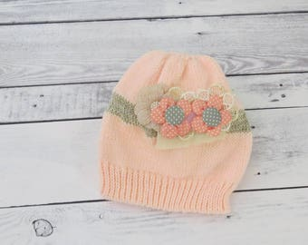 Gift for baby girl, Toddler knit hat, Knitted baby hat with aflower, Pink baby hat, Hats for babies, Wool baby hat, Kids hat, Unique kid hat