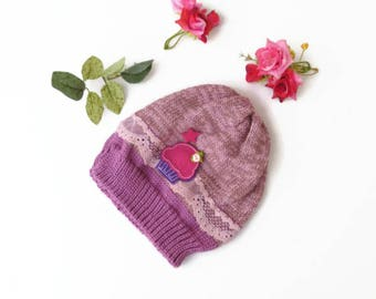 pink baby hat, Baby girl unique hat, Baby knit hat, New baby hat, Toddler hat with lace, Baby shower hat, Baby warm hat, Knitted baby hat