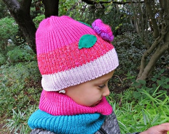Hat and cowl set for children, Hat and neck warmer  for child, Toddler knit hat and scarf, Pink and purple hat with flower, Child cowl