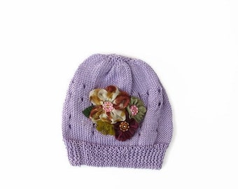 Baby girl knit hat, Baby girl flower hat, Newbornl hat, Gift for baby shower, Infant hat with flower, cotton girl hat, purpl baby hat.