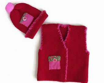 Baby knit cardigan and hat, Red coming home outfit, Knitted baby clothes, Baby knit bolero, Baby knit jacket, Hat and vest, Infant set