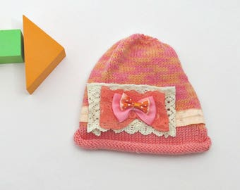 Baby knit hat with bow, Gift for a toddler, Christmas baby hat, Winter knitted child hat, Toddler hats with lace, Baby girl first hat.