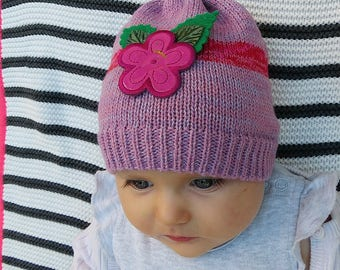 Baby girl hat with flower, New baby first gift, Wool child hat, Infant, Caps for babies, Light pink knit baby hat, present for a baby girl.