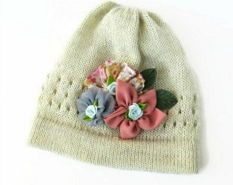Beige knit girl hat, Children knit hat, Baby girl hat with flowers, Kids knit hat, Beanie hat, Knitted  hat for girls, Toddler girl hat,