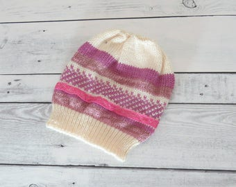 Beige pink and lace baby hat, Baby girl knitted hat, Winter baby hat, Wool knit toddler hat, Hats for babies, Kids hat and cap, Chunky, hats