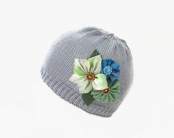 Baby girl knit hat, Baby girl flower hat, Newbornl hat, Gift for baby shower, Infant hat with flower, cotton girl hat, Gray baby hat.