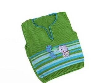Green blue child vest, Toddler knit vest, Baby knit outfit, Baby vest, Kids sleeveless sweater, Boy's knit pullover, Gift for baby, Boy vest