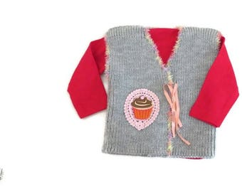 Gray Baby knit cardigan, coming home outfit, Knitted baby clothes, Baby knit bolero, Baby knit jacket, Baby girl vest, Toddler knitted vest
