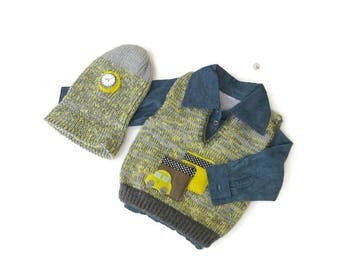 Baby knit clothes, Baby boy set clothes, Gray and yellow knit vest and hat, Gift for babies clothes, Kids knit clothes,Baby knit hat ,
