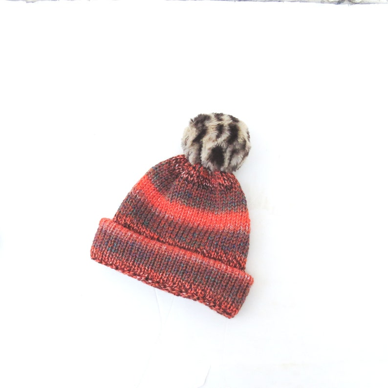 Chunky knit hat for children Orange-brown knitted hat Pom  f5a24b1e1139