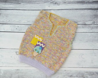 Colorful  baby knitted vest, Knitted baby top, Toddler vest, Baby knit clothes, Baby winter vest, Sleeveless sweater for kids, Girl  vest