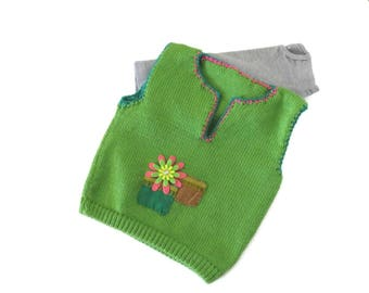 Green baby girl vest, Baby knit vest, Toddler knit vest, Child knitted vest, Baby vest, Baby clothes, Toddler knits, Kids knit vest clothes,