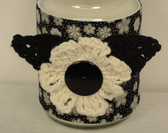 Black Candle Cozy - Yankee Candle Cover - Mason Jar Cozy - Candle Holder