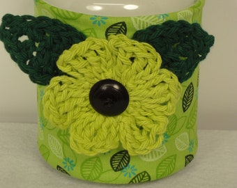 Green Candle Cozy - Yankee Candle Cover - Mason Jar Cozy - Candle Holder