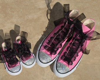 b1bb0f9e60e2 Mommy and Me Simply Crystal Swarovski Converse Crib Shoe Mommy   Baby Size  1-4 Chuck Taylors 2 Pair Sneakers High or Lo Top