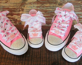 HARD SOLE Mommy Baby Toddler Shoe Sz 2-10 Swarovski Crystal Converse Chuck  2 Pr Mother Daughter Bling Sneaker Queen of Hearts 4988d46813