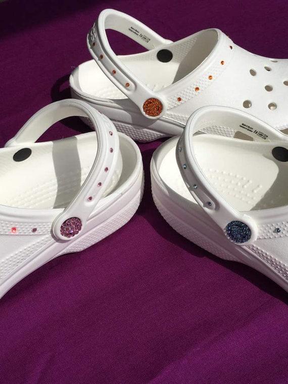 26620b74ffa093 ... Swarovski Crystal White Croc Bridal Clog Wedding Croc Women Etsy  clearance sale e7837 68fd0  Super cute Doll shoes Printed sandals for 18  inch American ...