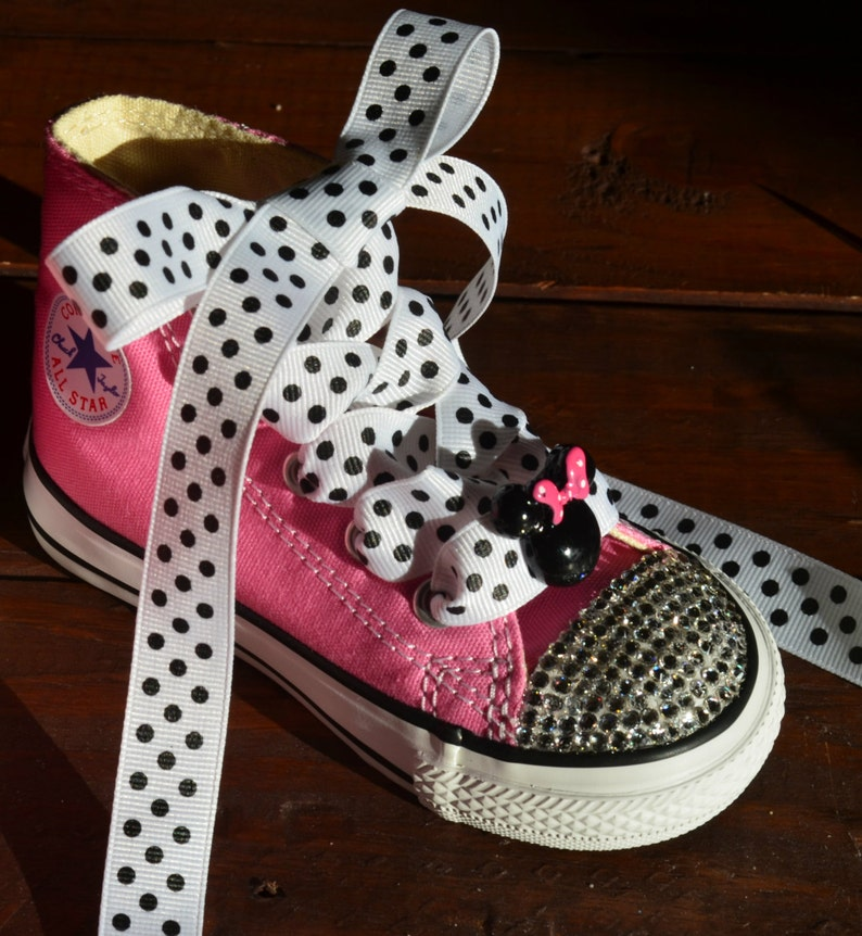 2d83117de9ed MINNIE the MOUSE Inspired Girl Hi-Top Lo-Top Swarovski Crystal