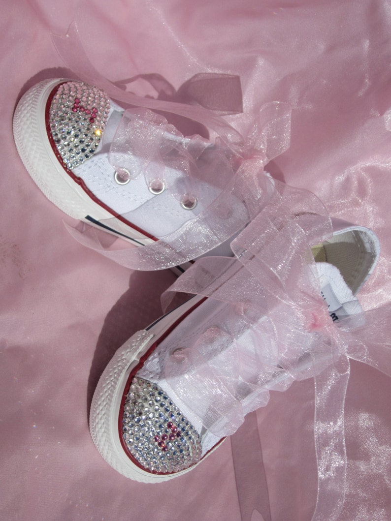c1964563b379 INITIALS Infant Toddler Wedding Converse Flower Girl Baptismal