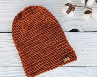 Crocheted Slouch Hat : Womens Rust Beanie