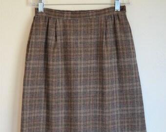 """Vintage Pendleton Wool Straight Skirt Brown Plaid Waist 24"""""""