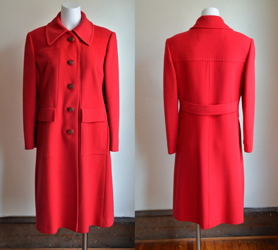 1960s Lipstick Red Cashmere Coat Bust 40