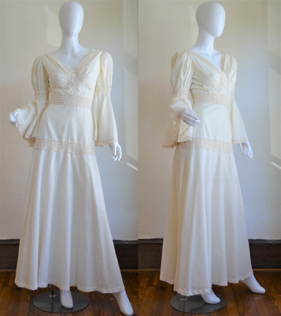 Divine 1970s Cream Cotton & Lace Boho Wedding Gown
