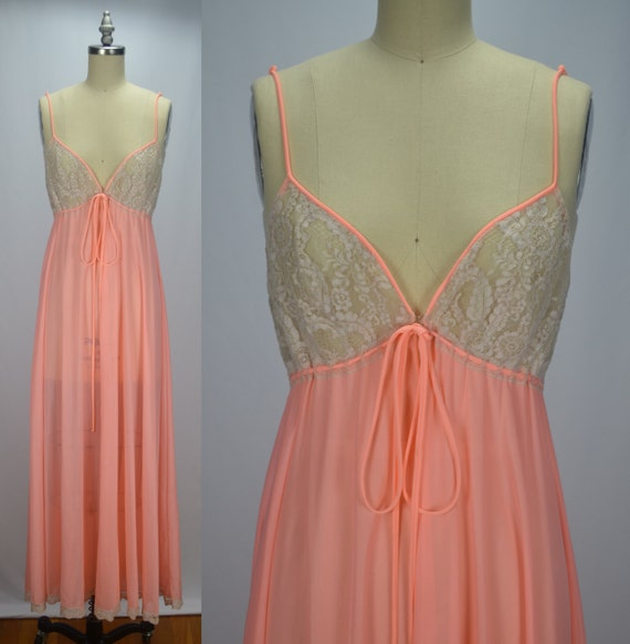 Lucie Ann Dreamy Peachy Pink 1960s Chiffon & Lace… - image 3