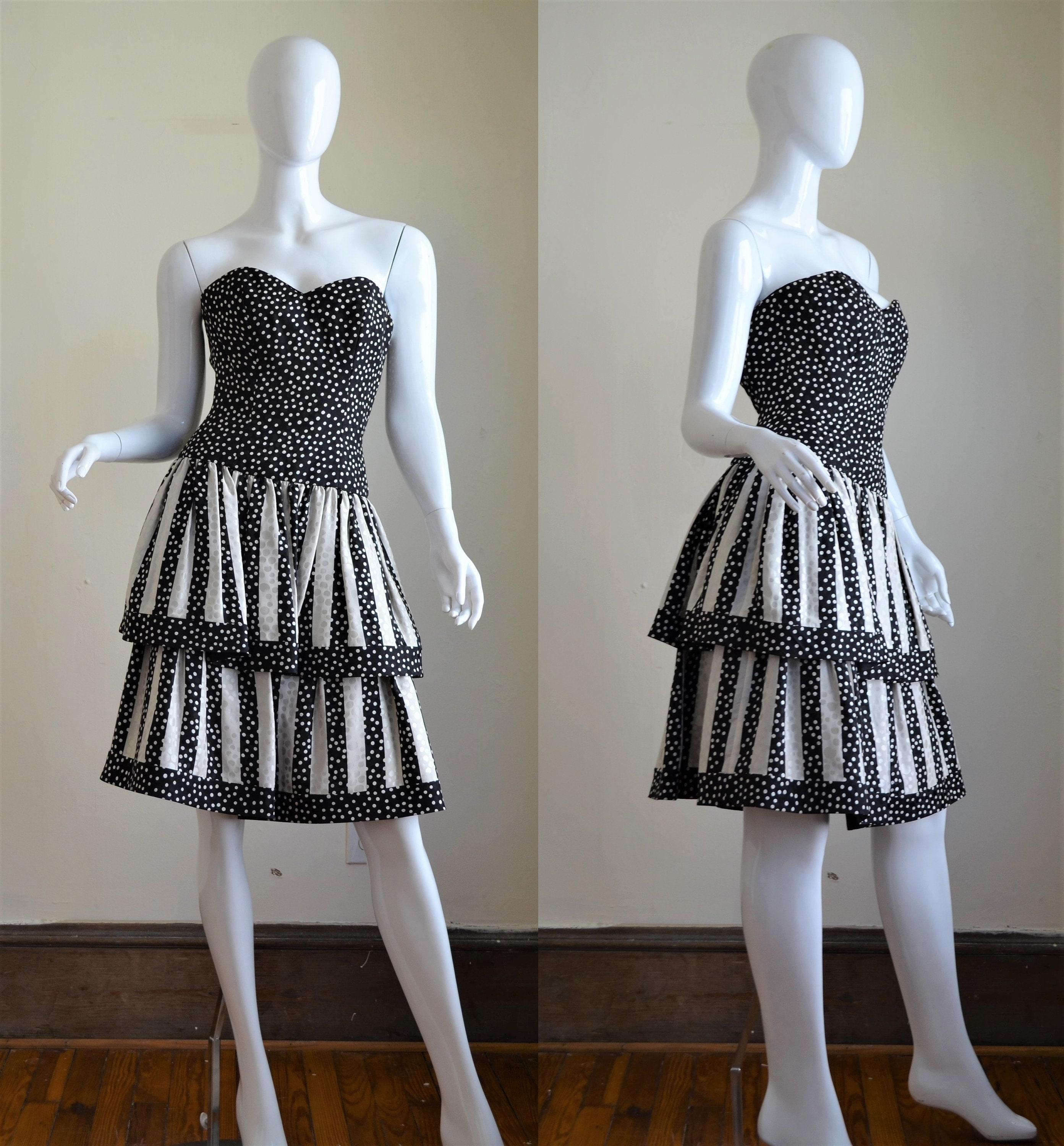 80s Dresses | Casual to Party Dresses 1980S Silk Black  White Polka Dot A J Bari Strapless Party Dress Bust 31.5 $0.00 AT vintagedancer.com