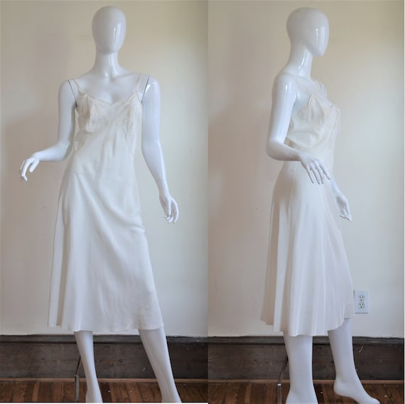 1930s White Rayon Bias Cut Slip with Embroidery &