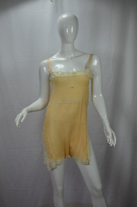 1920s Peach Silk Chiffon and Lace Teddy Step In Bu
