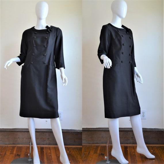 1960s Nat Kaplan New York Black Coat Dress with Fa