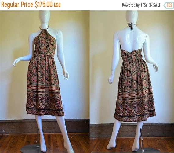 NOS Vintage Indian Cotton Phool Block Print Dress