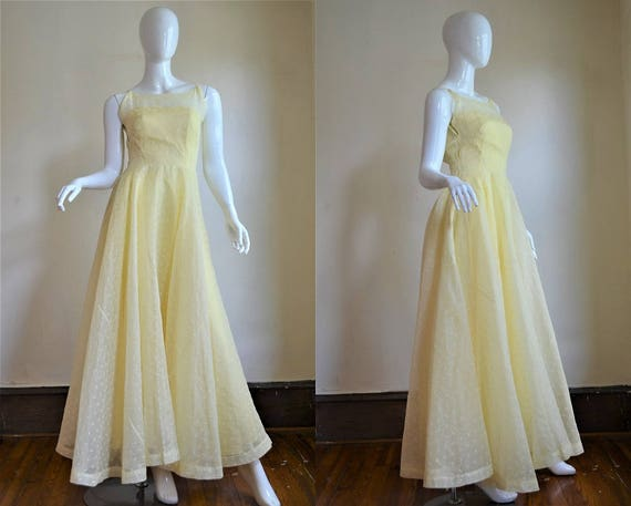 1950s Heavenly Yellow Organdy Eyelet Gown Bust 34""