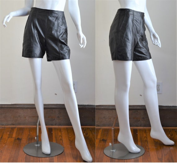 HOT!! Black Leather 1980s High Waist Shorts Waist